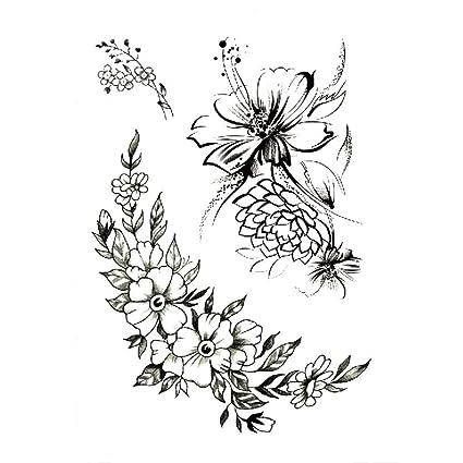 Tatuaggi Fiori Bianchi.Adesivi Tatuaggio Fiore Braccio Impermeabile Fiori Bianchi E Neri