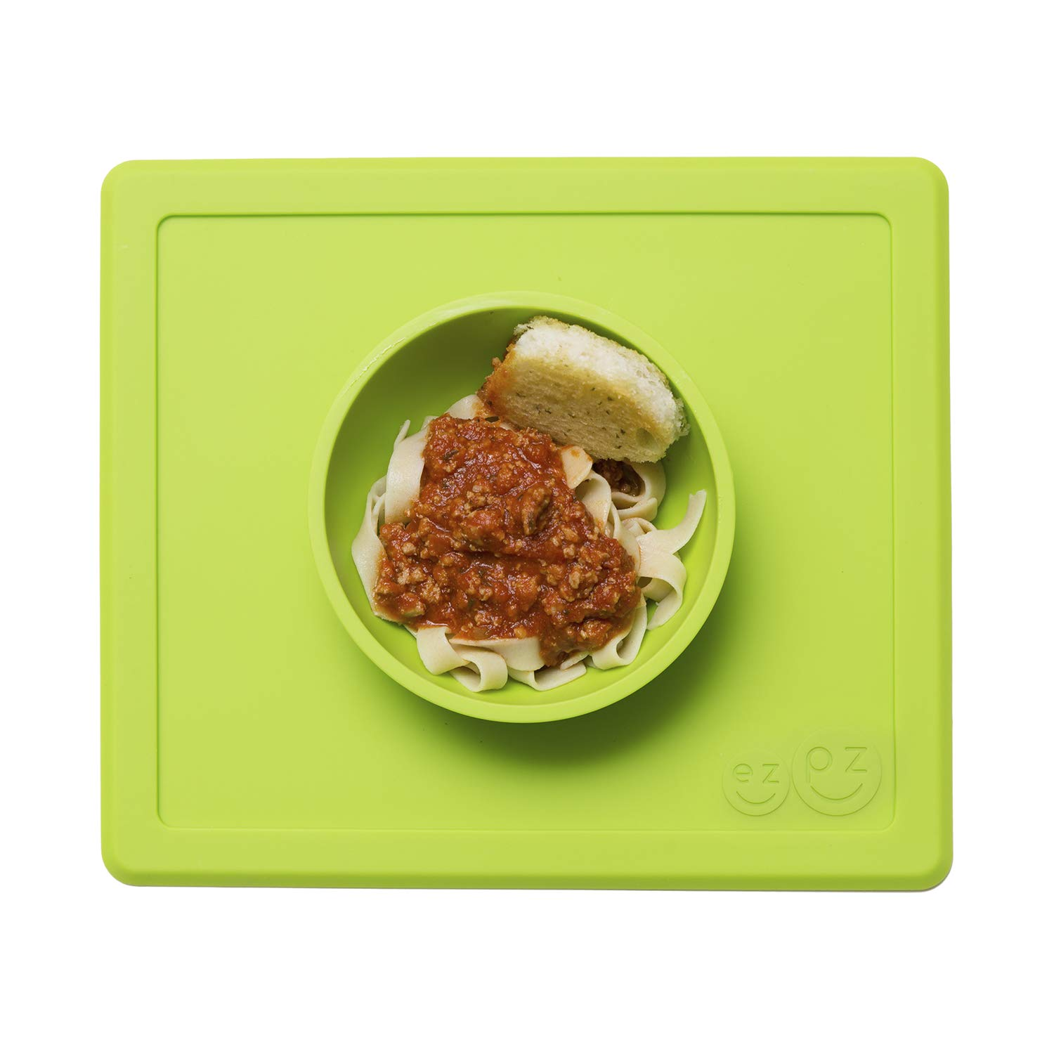 ez pzHappy Bowl (Lime) - 100% Silicone Suction Bowl with Built-in Placemat for Toddlers + Preschoolers - Dishwasher Safe (LMHBG001)