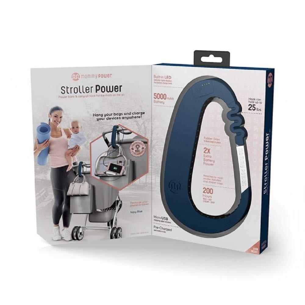 Navy Blue Mommy Power Stroller Power Stroller Hook /& Power Bank Carry-All Hook for The mom on The Go