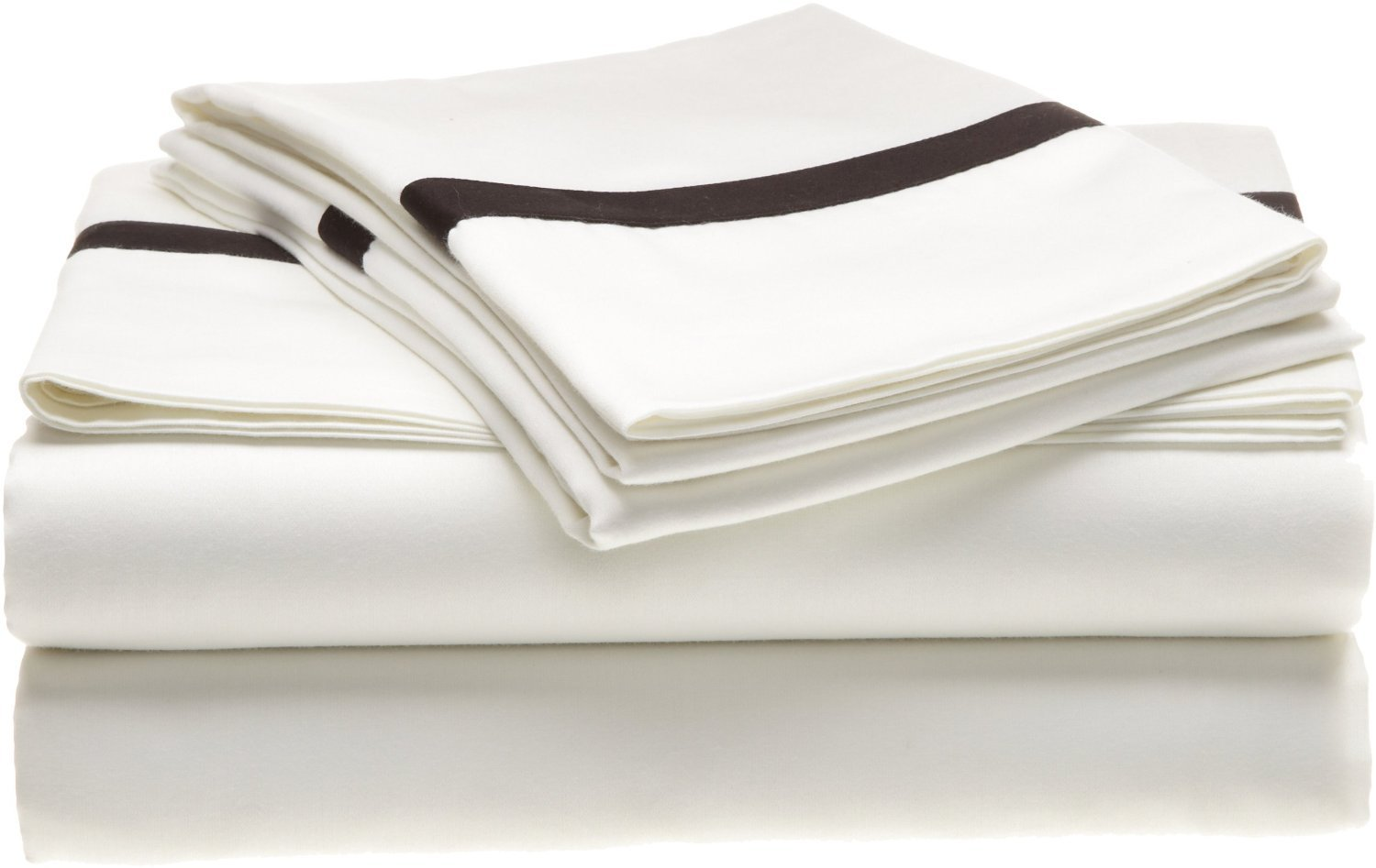 Superior 300 Thread Count 100% Cotton, Hotel Collection, Deep Pocket, Single Ply, Full Bed Sheet Set, White with Black