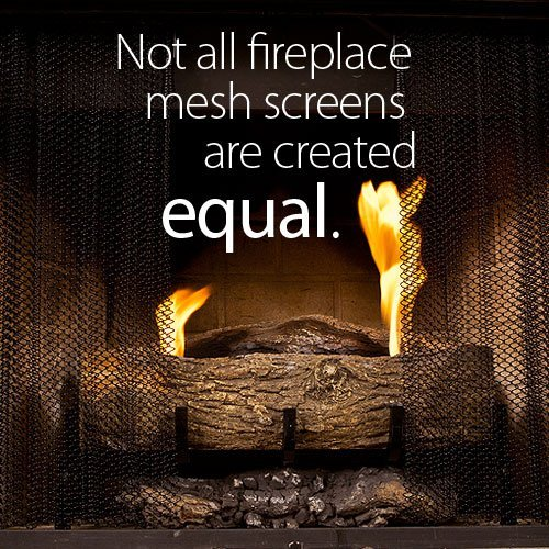 """Enhance the Style of Your Fireplace with a Condar Mesh Screen. Fireplace Mesh Screen Curtain. 18"""" High. Includes 2 Panels, each 24"""" Wide."""