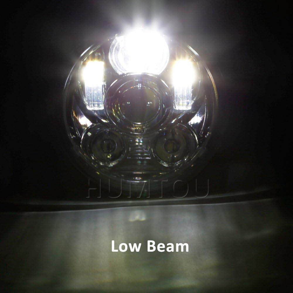 HUMTOU 5 3//4 5.75 Zoll Chrom Daymaker LED Scheinwerfer f/ür Harley Davidson Motorrad