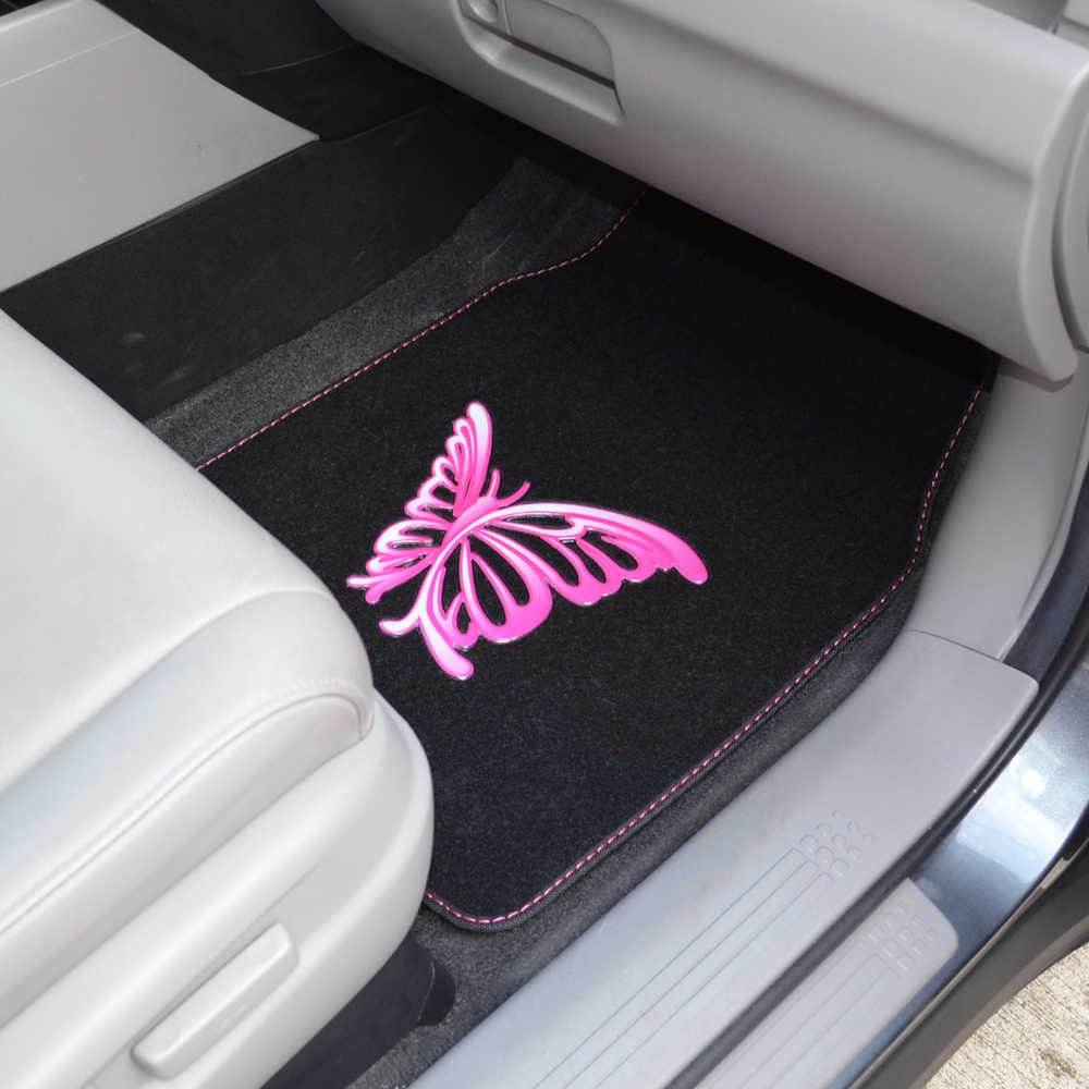 4 Pieces Front /& Rear Full Set with Rubber Backing Universal Fit BDK MT-509-PP White Purple Butterfly Design Carpet Car Floor Mats for Auto Van Truck SUV
