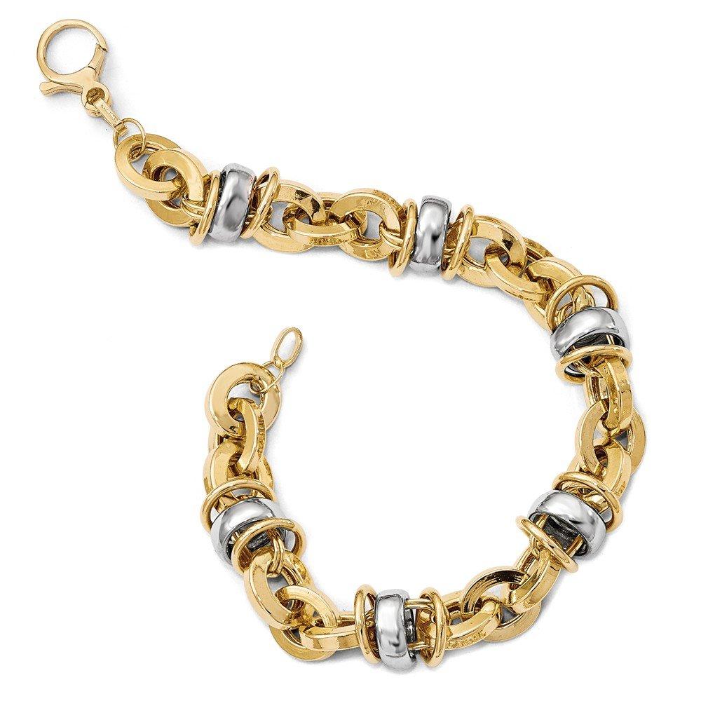 Italian 14k Two-Tone Gold Fancy Bracelets - 8 inches