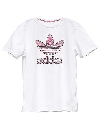 21bd8487 adidas Originals Kids Girl's Tee (Little Kids/Big Kids) White/Multicolor X