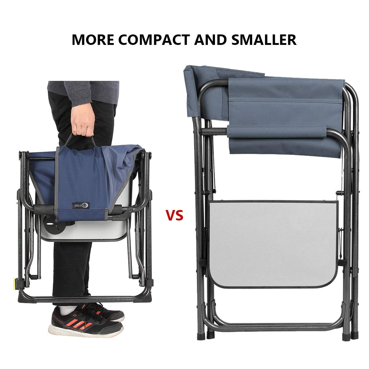 PORTAL Compact Folding Directors Chair Heavy Duty Folding Chair Padded with Carry Strap, Side Table and Armrest,Supports 300 lbs by PORTAL