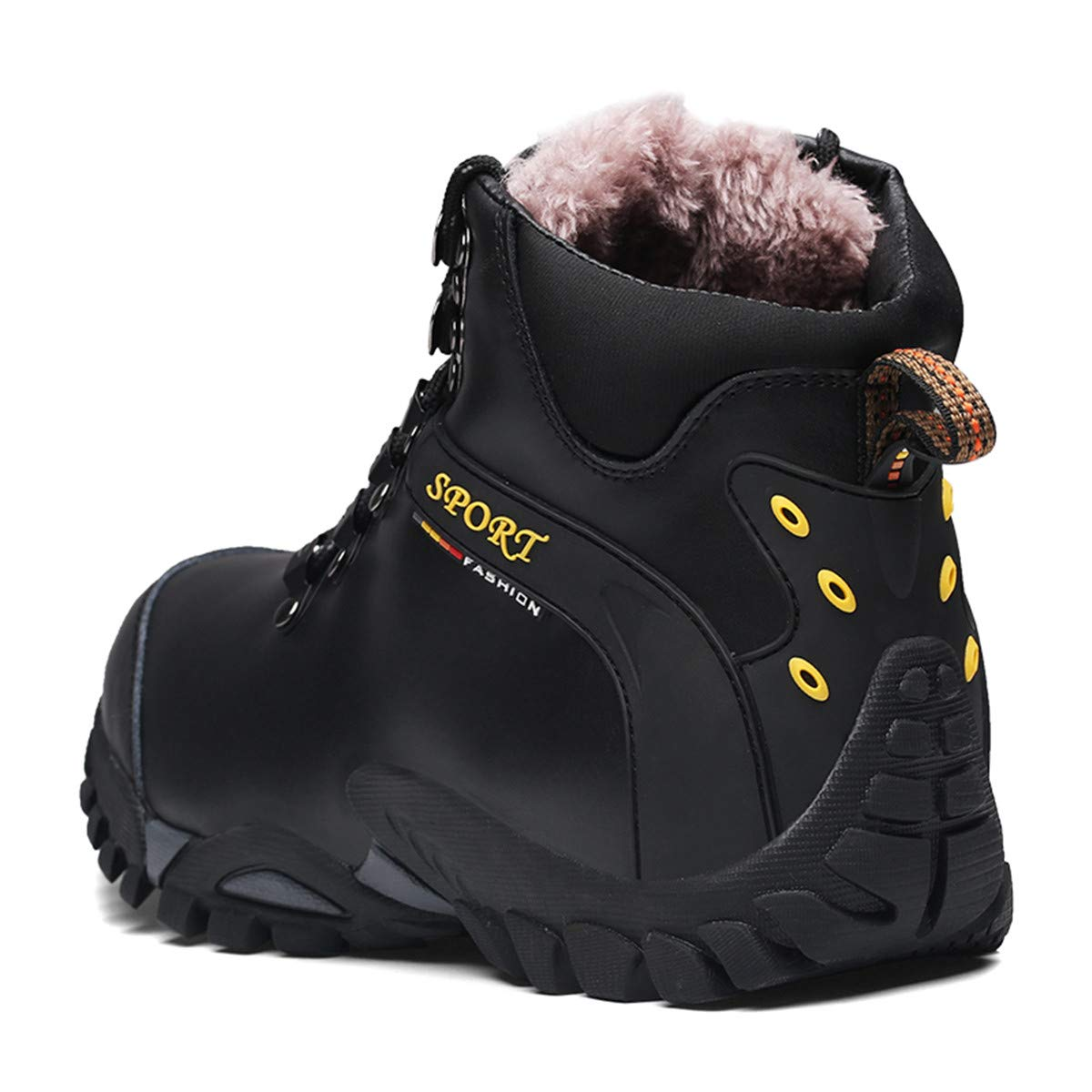Hanhequhui Winter Men Boots with Fur Casual Warm Snow Leather Work Footwear Ankle Shoes