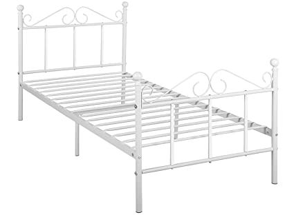 Amazon.com: GreenForest Metal Bed Frame Twin Size with Headboard and ...