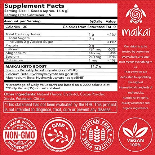 Exogenous Ketones Supplement (BHB) - Patented Beta-Hydroxybutyrates (Calcium, Sodium, Magnesium) Keto Powder – Ideal for Ketosis Diet, Fat Burning, Performance & Focus – Chocolate Flavor (15 Servings)