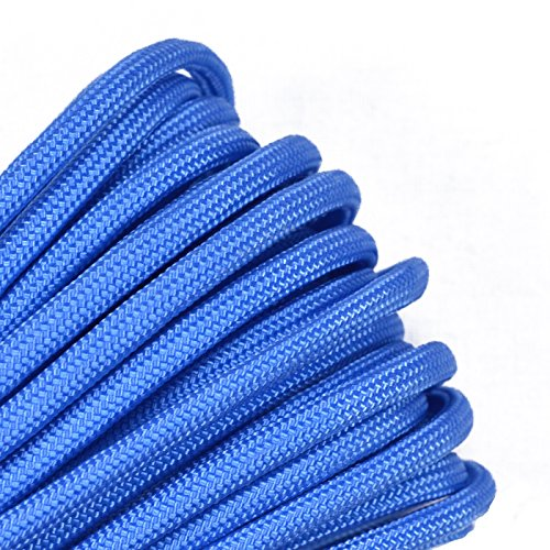 - Bored Paracord - 1', 10', 25', 50', 100' Hanks & 250', 1000' Spools of Parachute 550 Cord Type III 7 Strand Paracord Well Over 300 Colors - Baby Blue/Tarheel - 100 Feet