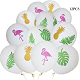 """Flamingo balloons,12""""Latex White balloons,Pineapple Leaf decorations balloons for Hawaiian Luau Tropical Party Favors Supplies (12 Pack)"""