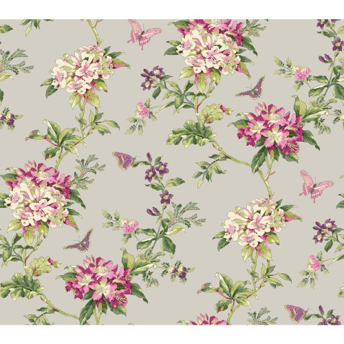 27' Almond (York Wallcoverings ER8218 Waverly Cottage Fawn Hill Wallpaper, Silver Satin/Pink/Magenta/Purple/Green/Almond)