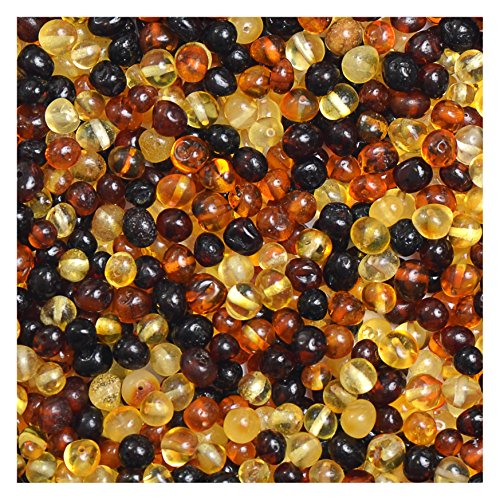 Polished Baltic Amber Loose Bead with drilled Hole 10grams - 3 Different Sizes to Choose - 6 Different Colors to Choose (Small 4-6mm, Mixed)