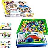 Idealgo 296pcs Mushroom Nails Jigsaw Puzzle Pegboard Sunsbell Educational Toys for Children Kids Jigsaw Puzzle Game Creative Mosaic Pegboard Educational Toys for Children