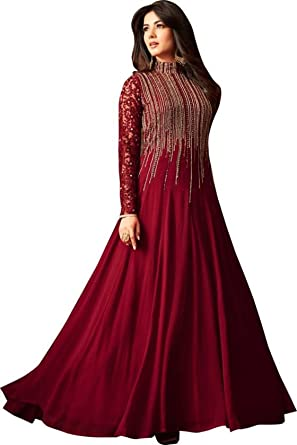 Monika Silk Mill Women\'s Latest Maroon Color Festival Wear Party ...