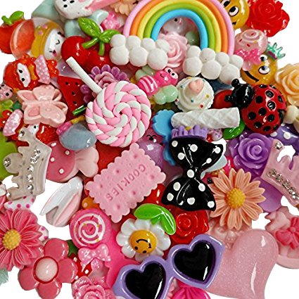 Scrapbooking Charms - Chenkou Craft 50pcs Lots Mix Assort Easter DIY Flatbacks Resin Flat Back Buttons Scrapbooking Slime Charm