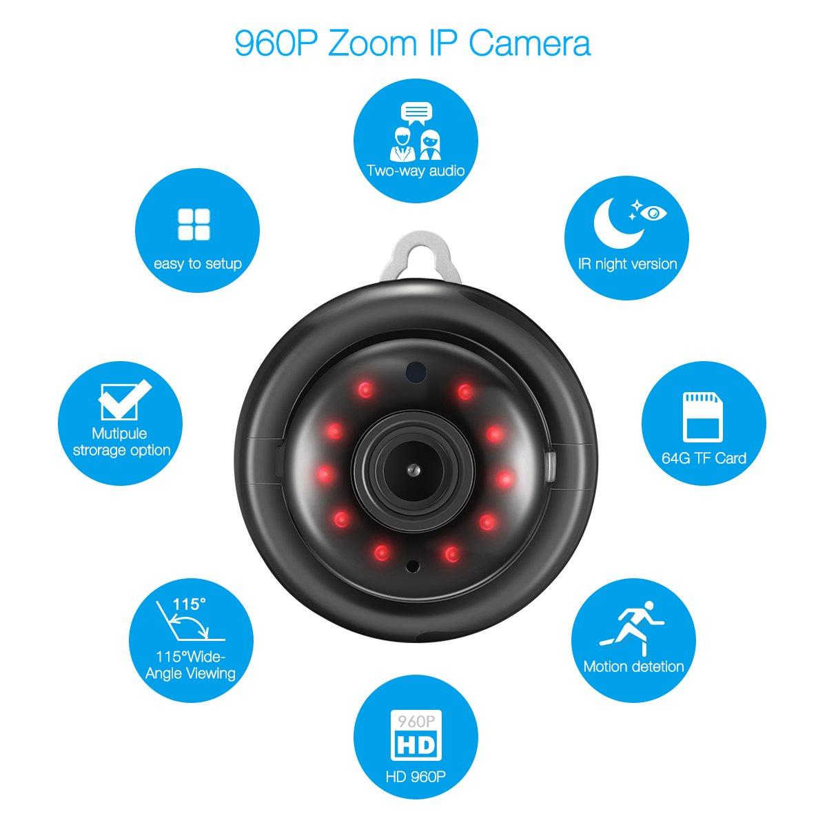 DIGOO DG-M1Q Home Security Wi-Fi Mini Cámara IP HD 960P sin hilos la visión nocturna sistema de vigilancia y seguridad interior y exterior, Pantalla grande ...