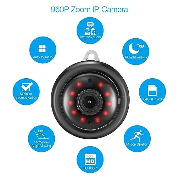 ... IP HD 960P sin hilos la visión nocturna sistema de vigilancia y seguridad interior y exterior, Pantalla grande 115 ° de ángulo, detección de movimiento: ...