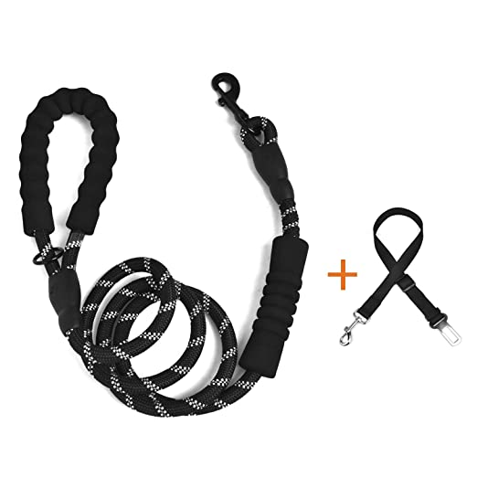 Rope Dog Lead With 2 Padded Handles And Extra Free Dog Seat Belt