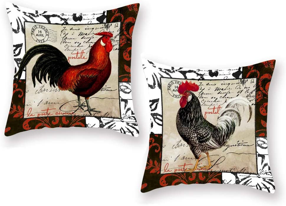 Amazon Com Throw Pillow Covers Super Soft Farmhouse Animal Red Grey Rooster With Words Decorative Pillow Covers Cushion Case For Couch 18 X18 Set Of 2 Pillowcases Red Grey Rooster Home Kitchen