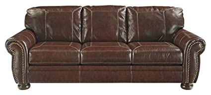 Ashley Furniture Signature Design - Banner Traditional Faux Leather Sleeper  Sofa - Queen Size Mattress Included - Coffee