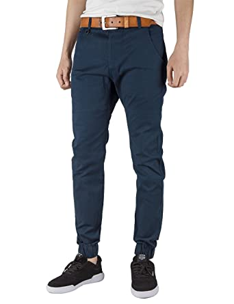 3164544549b ITALY MORN Mens Chinos Casual Pants Khakis Cotton Twill Trousers Flat Front Joggers  Dress Slim Fit Stretch Black (XL(38Wx31L)