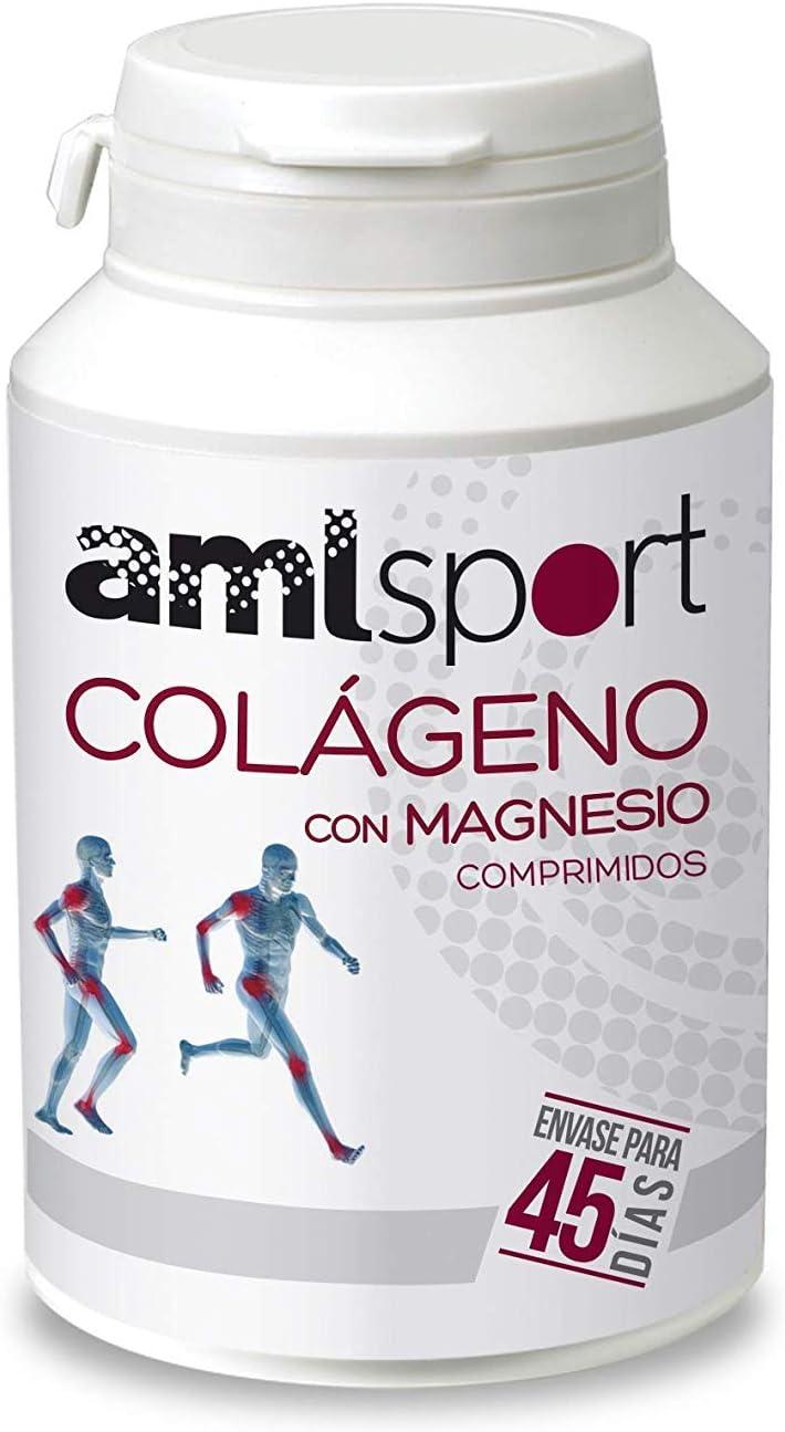AMLsport - Colágeno con magnesio – 270 comprimidos articulaciones fuertes. Regenerador de tejidos con colágeno hidrolizado tipo 1 y tipo 2. Envase para 45 días de tratamiento.