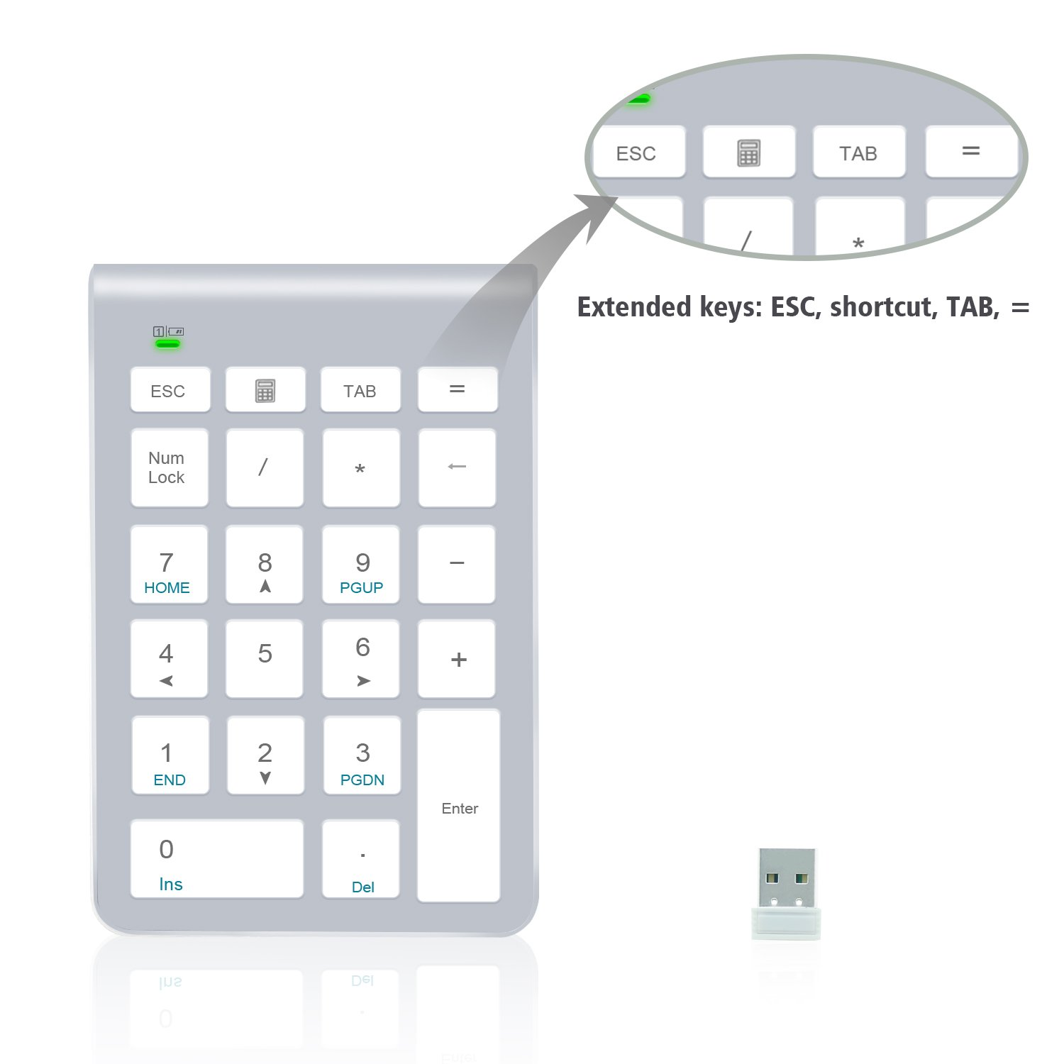 2.4G Number Pad Alcey Wireless 22 Keys Multi-Function Numeric Keypad Keyboard with 2.4G Mini USB Receiver for Laptop//Desktop//PCs//Notebook Silver
