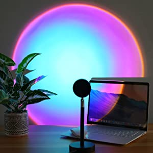 Sunset Lamp Projector 180 Degree Rotation Sunset Night Light Projector Romantic Atmosphere Visual Led Floor Light for Home Bedroom Garden Photography Decor Rainbow