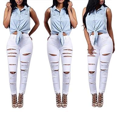 340406754dfc3 Tonsee® Pantalon, Femmes Skinny Taille Haute déchiré Denim Pants Slim  Crayon Jeans (XL