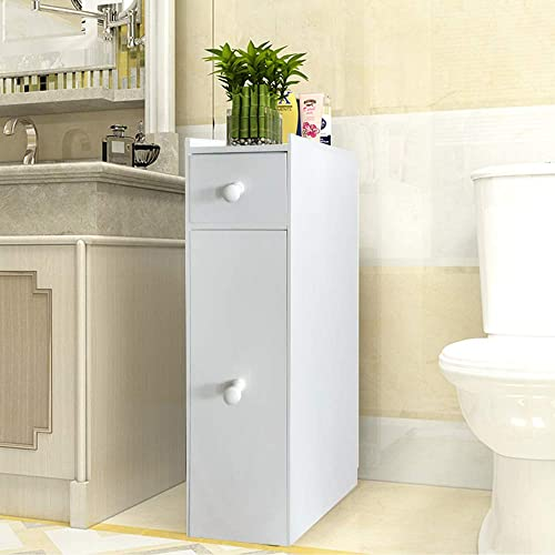 QIHANG-US Slim Storage Cabinet Bathroom Toilet Paper Holder Floor Wood Cabinet Narrow with Slide Out Drawers for Bathroom Kitchen Bedroom White