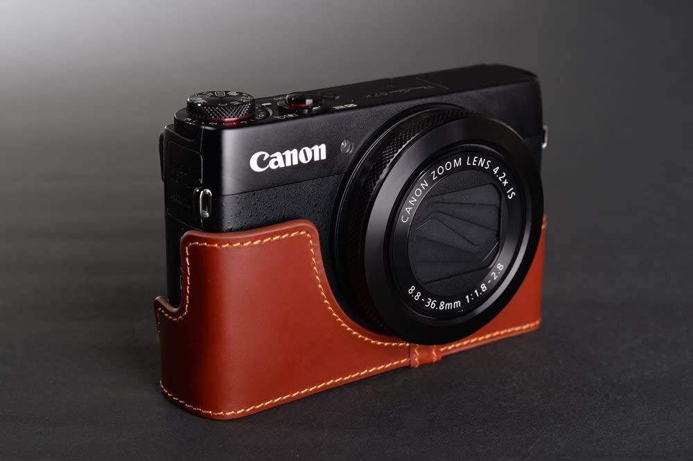 Handmade Genuine real Leather Full Camera Case bag cover for Canon G7X Brown Color