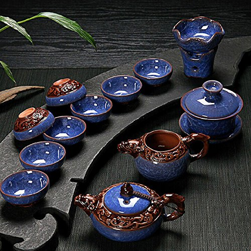 Ice Blue Porcelain - Dehua Porcelain Ice Crack Glaze Porcelain Chinese Tea Set (blue)