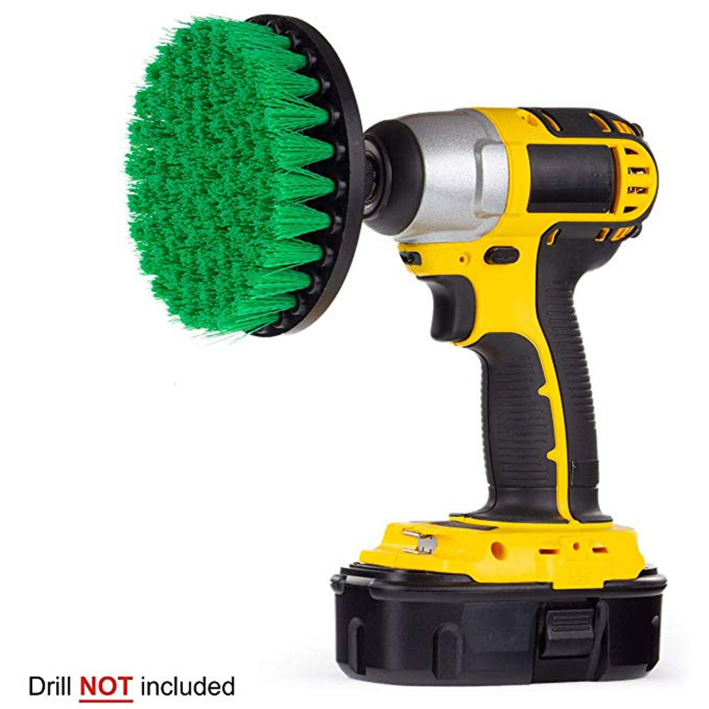 JDgoods 5 Inch Soft, Medium and Stiff Power Scrubbing Brush Drill Attachment for Cleaning Showers, Tubs, Bathrooms, Tile, Grout, Carpet, Tires, Boats (Green)