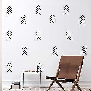 "Set of 12 Vinyl Wall Art Decals - Arrows - 8"" x 4"" Each - Modern Sticker Pattern for Home Office Bedroom Nursery Living Room - Urban Lifestyle Minimalist Playroom Apartment Decor (Black)"