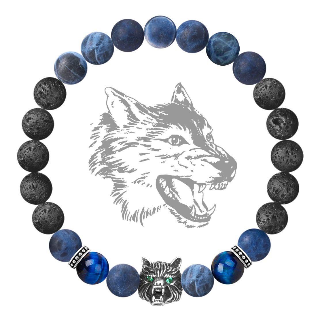 Karseer Antique Silver Viking Wolf Anxiety Relief Energy Bracelet Natural Sodalite Crystal and Lava Stone Beaded Stretch Bracelet Essential Oil Diffuser Chakra Bracelet Friendship Jewelry Gift, 7'' by Karseer