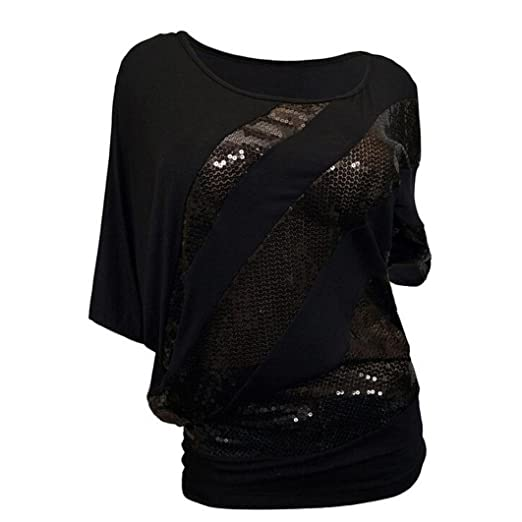 e29f7ed6392778 iTLOTL Women Sequin Causel T-Shirt Top Cold Shoulder Blouse Plus Size(S