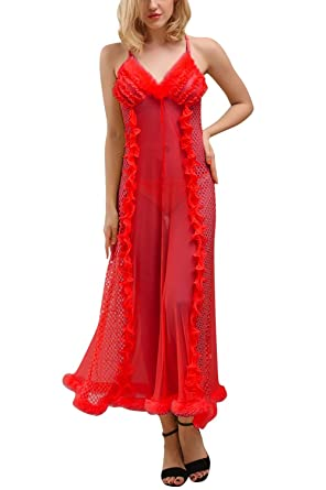 CHICTRY Womens Lace Lingerie Robe Nightwear Chemise Long Nightdress with G-String Set