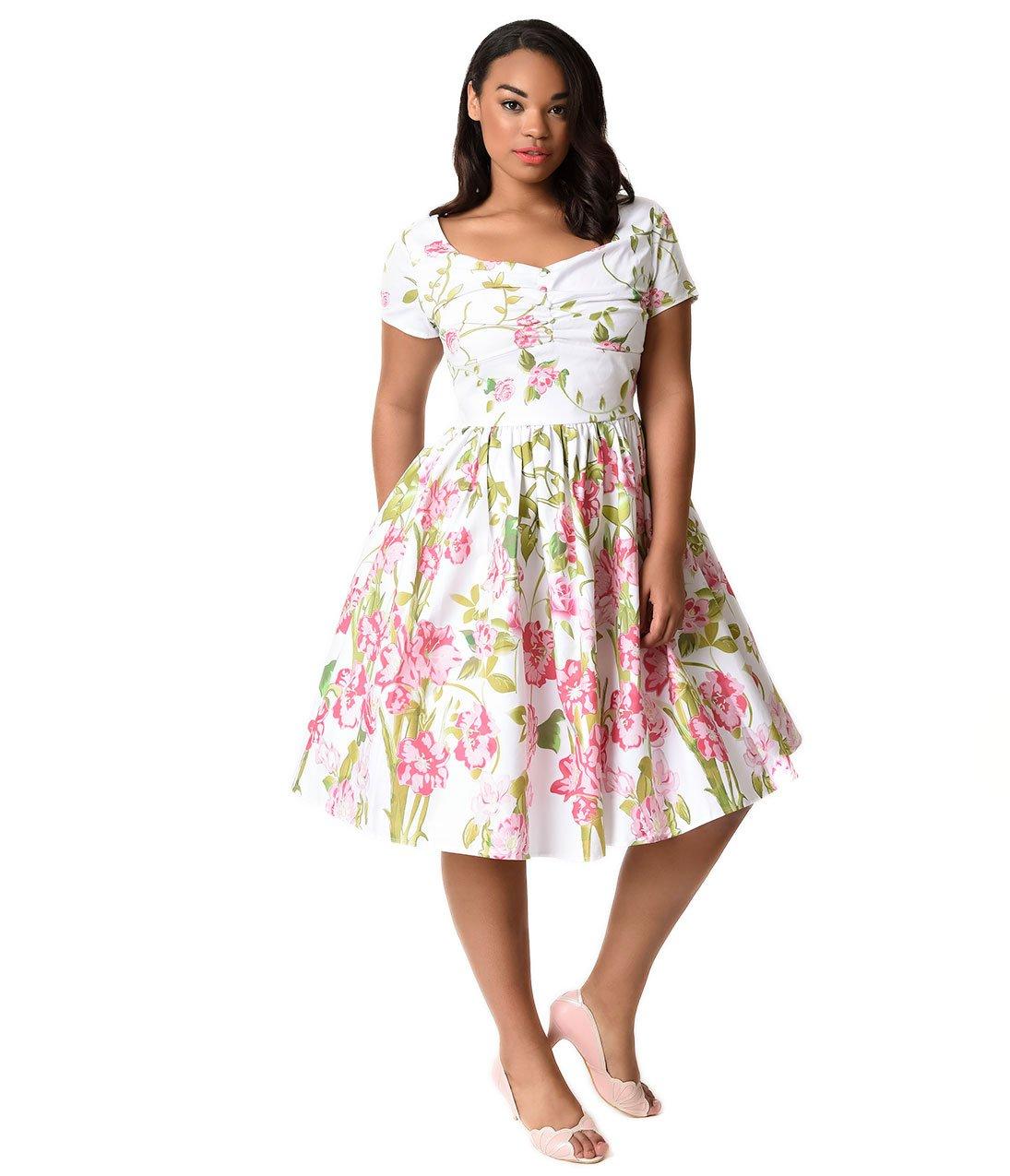 Unique Vintage Plus Size 1950s Style White & Pink Floral Short Sleeve Whitman Swing Dress