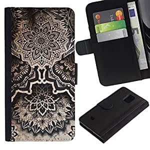 Paccase / Billetera de Cuero Caso del tirón Titular de la tarjeta Carcasa Funda para - Art Drawing Ink Black White - Samsung Galaxy S5 Mini, SM-G800, NOT S5 REGULAR!