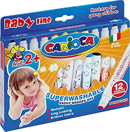Carioca - Caja de 12 rotuladores Super Baby (42249): Amazon.es: Oficina y papelería
