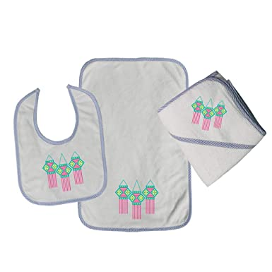 a43dd5772 Amazon.com  Hindu Cotton Boys-Girls Baby Bib-Burb-Towel Set - Blue ...