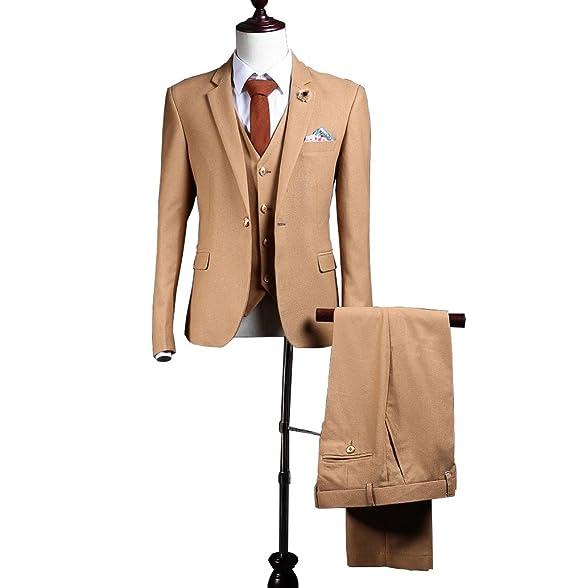 Amazon.com: Traje de hombre Brown Tweed, 3 piezas, mezcla de ...