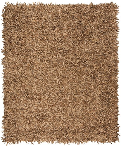 Leather Shag Rug - Safavieh Leather Shag Collection LSG601E Hand-Knotted Light Gold Decorative Area Rug (5' x 8')