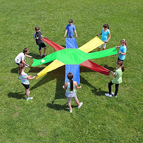 Sunflower Parachute 8 Sheet 16 Handles Play Chute for 8 16 Kids Children Party Games Toy Team Training