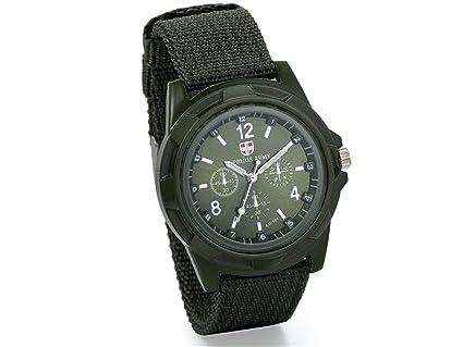 ADream Mens Militar Army Pilot Aviator Style Deportes al Aire Libre Reloj Tela Lona Correa Wrirstwatch