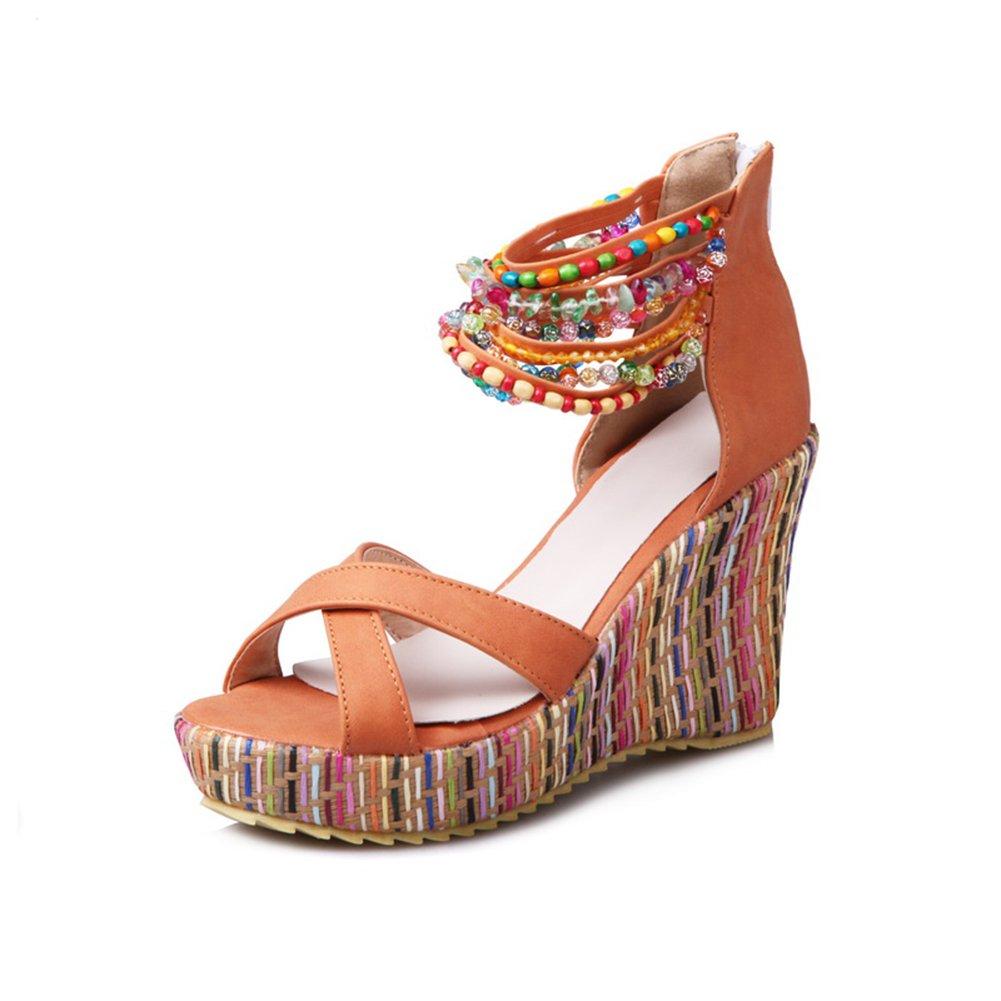 Sandaletten High Heels Plateau Bouml;hmisch Sommer Wedges Schuhe Keilabsatz Peeptoe Pumps Perlenketten Damen  36 EU|Orange