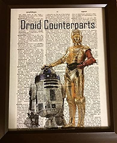 Droid Counterparts Star Wars Dictionary Book Page Artwork Print Picture Poster Home Office Bedroom Wall (Mario Bedroom Decor Furniture)