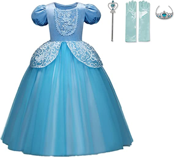 NNJXD Girls Cinderella Princess Costume Puff Sleeve Fancy Party Dress up Size(110) 3-4 Years Blue 2