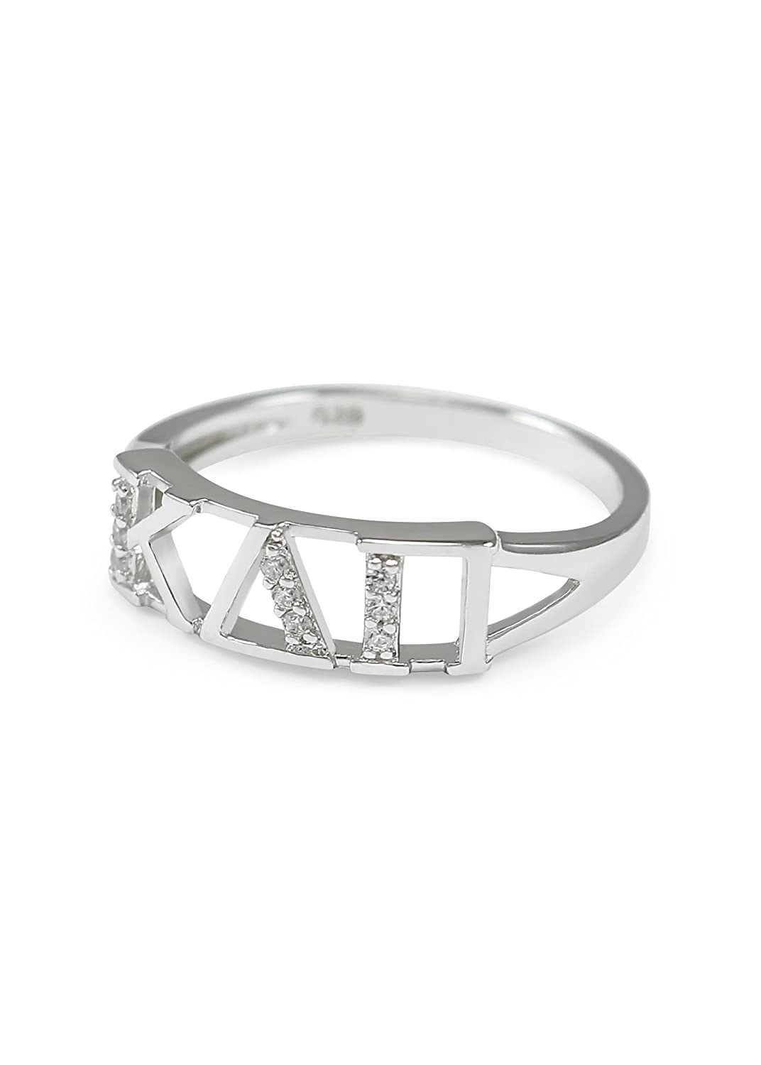 The Collegiate Standard Kappa Delta Pi Sterling Silver Ring with CZs